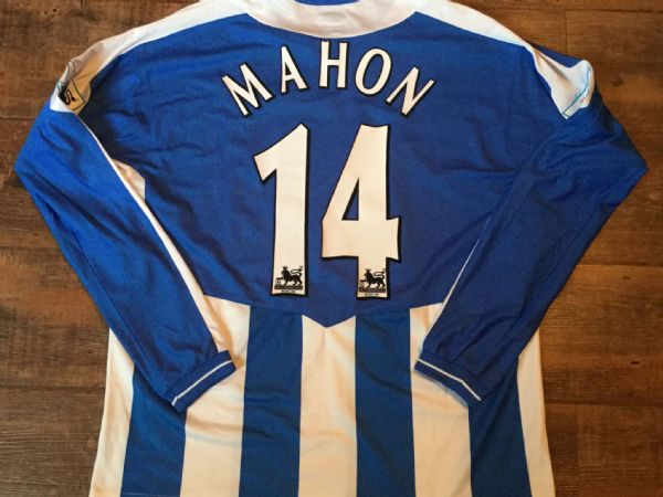 2005 2006 Wigan Athletic Player Issue Mahon #14 L/s Football Shirt Top